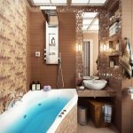 elegant Bathtub Brown Mosaic Tile Vainness Sink Fascinating Beautiful Small Lavatory Ideas
