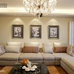 elegant Black Coffee Table Feat cream Sofa plus Frame On The Wall Cozy Fashionable Residing Room Design With Luxury Crystals Chandelier