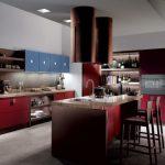 elegant Blue Cupboard Brown Granite Countertop Kitchen set plus Bar Stools also Red Backsplash beautiful Kitchen Lighting Ideas