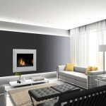elegant Dark Gray Wall In Dwelling Room Including Brown Rug Underneath Black Benches Table