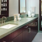 elegant Darkish Wood Vanity Decor Along With Massive Mirror On The Wall Ideas Elegant Lavatory Design With Metal Stainless Countertop Double Sink