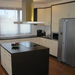 elegant Kitchen decorations square Kitchen Island plus Stove On The White wooden Kitchen cabinet also Glasses Window