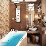 elegant Mosaic Tile Vainness Sink plus Cabinets On The Wall Fashionable Rest room Decoration Ideas With Brown Tile Wall