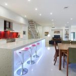 elegant Red Backsplash Feat Stunning Bar Stools Plus Square Wood Desk Great Small Kitchen Design