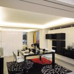 elegant White Chair Including Led Lighting Ideas In Ceiling Along With Wall Cupboard Enticing Dining Room Design Concepts With Superb Black Pattern Rug Underneath The Black Glossy Dining Desk