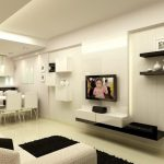 elegant White theme Shade With Mini Bar Beautiful Minimalist Open Plan Kitchen Design