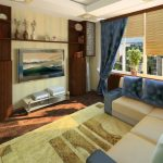 elegant Yellow Rug On Flooring Including wide screen Television Floating Cabinet plus Shades Window Beautiful Small Reading Room Design With Stunning Blue Floral Pillow On Beige Couch