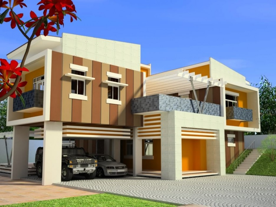 Elegant Yellow Stained Colours Mixture In Line Vertical And Horizontal Beautiful Exterior For Fashionable House Designs