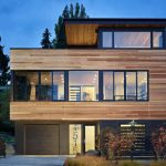 elegant wooden wall with glasses window minimalist design