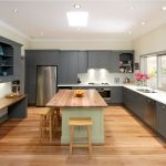 enchanting expansive kitchen style with gorgeous dark grey cabinet and cute wooden chair with large wooden top table in hardwooden flooring concept