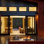 enchanting sliding door glass idea with ravishing wooden wall panel also glossy patio design with ample spcae inside with creative dining set furniture