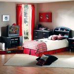 enchanting teenage boys room with low profile bed and elegant red curtain also mesmerizing black cabinet in glossy laminate flooring