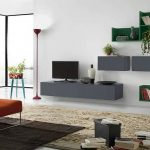enchating gray and green modular wall cabinet also interesting large glass window with cozy orange sofa also amazing rug in white laminate flooring
