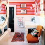 exciting bathroom decoration with striped wall in red also cozy brown chairs with arabian rug also pentagon flooring concept