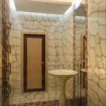 fantastic Pedestal Sink Mirror Attractive Small Restroom Ideas Led Lighting Ceiling Together with Unique Pattern Mosaic Tile Wall design