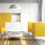 fantastic Spherical Table On Brown fur Rug As Properly White Round Pendant Lamp As Properly White Yellow Cabinet Modern Small Living Room decoration Yellow Chair