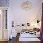 floral patterned wallpaper wooden varnished floor white bedframe white wooden wardrobe beautiful chandelier white wooden storage purple floral curtain white bedroom rug white painted ceiling