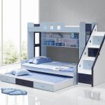 gorgeous blue and white bunk bed with triple matrass also elegant stairs with buil-in bookshelve feat wonderful grey wall color and white glossy tile flooring