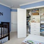 gorgeous buil-in closets for kides with sky blue wall color decoration feat elegant dark brown craddle in laminate flooring