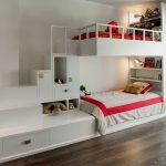 gorgeous bunk bed with stairs idea also interesting buil-in storage and bookshelves with exotic red sheets and gorgeous white painted wall in hardwooden flooring design