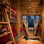 gorgeous hard wooden walling elegant wooden bunk bed built in ladder interesting large glass window alluring red bedcover