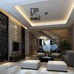 Gorgeous Modern Living Room With Cozy White And Grey Sofa Also Interesting Ceiling Lighting Completed With Large Divider Panel In Hardwooden Flooring
