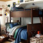 gorgeous teenage boys room with interesting wooden bunk bed also interesting blue bedcover completed with small box for storage in white wall painting decoration
