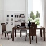 great Dining Chair Set On Carpet plus E-book Shelves Ideas  Wall Glasses Window Nook Elegant Dining Room Design With Dark Picket Eating Table