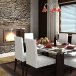 great Modern Glass Eating Table also White Leather Eating Chair plus Curtain Modern Dining Room Design With Enticing Hearth Stone Wall Including Crimson Chandelier