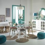great Pendant Lamp Above Round Glass Dining Table As Well Many Round Rug On Ground Additionally Green Chair And Double Door Shabby Chic Living Room Storage Design With Round Mirror The Top