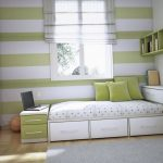 green and white stripes [ainted wall green painted wall mounted bookcase white wardrobe gray bedroom rug light wooden varnished floor white painted wall silver desk lamp shade