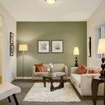 green painted wall white painted wall white painted ceiling gray carpet white furry rug light gray sofa upholstery wooden beautiful desk lamp simple floor standing lamp