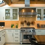 intereeting modern kitchen with white wooden kitchen island also intereting wooden dining set furntireu also amazing wooden ceiling in white tile flooring
