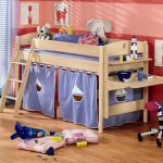 interesing kids bunk bed with elegant ladder also interesting rent concept with built in study desk also cute peachy wall painted in laminate flooring design