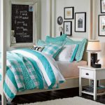 interesting chic aquamarine bedcover also interesting chalkwall faet elegant desk lamp and mini wooden table feat rattan basket with elegant white fur rug in hardwooden flooring