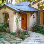 interesting cottage house with natural stone walkaway also ravishing black framed window and amazing cozy bench
