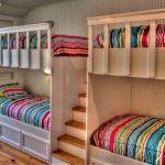 interesting double bunk bed with stairs also cute assorted color sheets with amazing wooden wall in laminate flooring concept