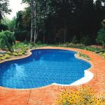 interesting inground swimming pool with gorgeous round shape pool also interesting brick pool deck feat wonderful garden area for open space living