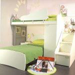 interesting kids bunk bed with gorgoeus stairs also fresh green sheets and amazing soft gray painted wall and interesing round rug in granite tile flooring