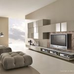 Interesting Modern Living Room With Soft Brown Color Accent Also Unique Square Sofa With Wall Buil In Media For Expansive Size Concept