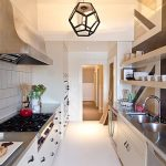 interesting small kitchen with extravagant double sinl also silvery countertop with open shelve storage in white and brown laminate flooring