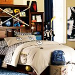 interesting teenage boys room with sport theme concept also wonderful teak wood cabinet with blue fur rug for small home design