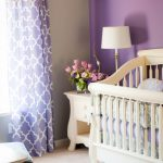 inviting purple wall color decoration white desk lamp elegant small table wonderful white crib warm thick fur rug