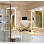 inviting small bathroom elegant large white bathroom cabinet gorgeous soft creamy wall color decoration enchanting large mirror cute transparenet glass shower