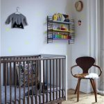 light grey wall with neon dots colorful open shelf with steel frame rustic wood crib with fabric bedding set wood armchair white curtain hardwood flooring