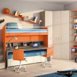 light grey wood flooring beige wall glass window with white frame orange office chairs orange loft beds blue bedsheet grey des dark blue rug white wardrobe orange open shelves