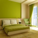 lime green painted wall lime green window curtain lime green swivel chair lime green bedsheet green floor rug lime green bedroom color scheme beautiful color bedroom