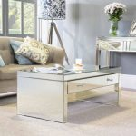 lovely Mirror Espresso Table Carpet Properly Cozy Couch also Cream Pillow Also Lamp Standing Corner Beside Glasses Window Stunning Living Design With beautiful Mirrored Furniture Set