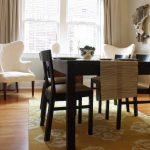 lovely White Chair Window Additionally Picket Flooring Elegance Yellow Eating Room Rug Decoration Below Dark Wood Dining Table Set