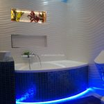 lovely White Tile Wall plus Mosaic Tile Self-importance also Bathtub Cover Superb Bathroom Decoration Ideas With Blue Lighting Under Bathtub Nook